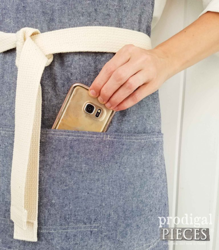 Cell Phone Pocket on Bib Apron by Prodigal Pieces | prodigalpieces.com