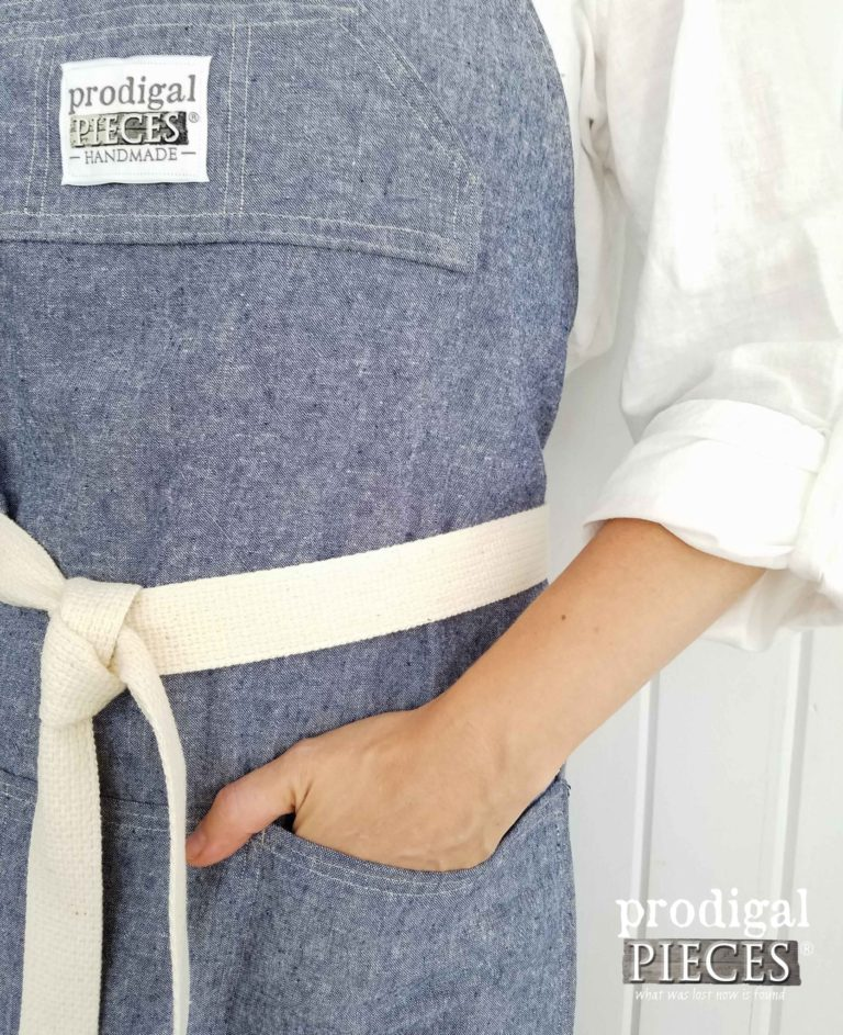 Linen Apron in Denim by Prodigal Pieces | prodigalpieces.com