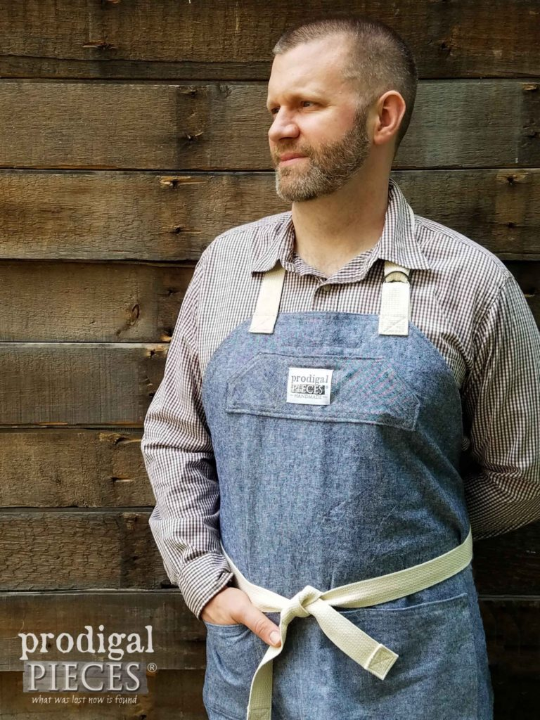 JC in Demi-Chef Linen Apron by Prodigal Pieces | prodigalpieces.com