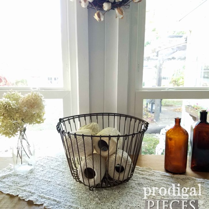 Antique Wire Egg Basket for Farmhouse Decor or Repurposed Lighting. Available at Prodigal Pieces | prodigalpieces.com