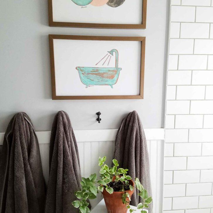 Boho Chic Bathroom with DIY Copper Wall Art by Prodigal Pieces | prodigalpieces.com