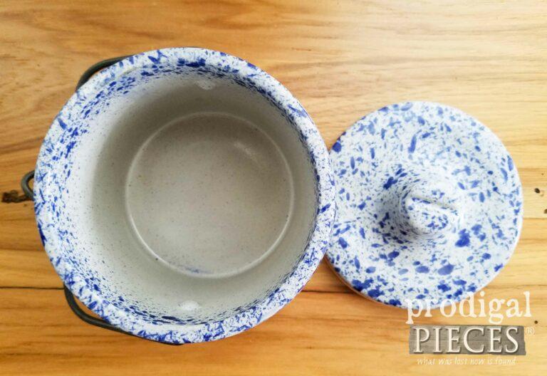 Inside Blue Farmhouse Speckled Canning Crock | prodigalpieces.com