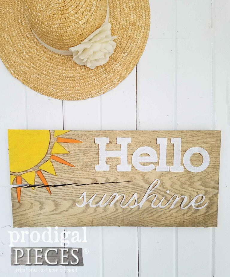 Hello Sunshine Wall Art Sign on Reclaimed Barn Wood by Prodigal Pieces | prodigalpieces.com