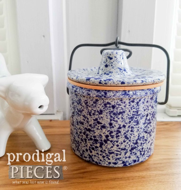 Blue Farmhouse Speckled Canning Jar Crock available at Prodigal Pieces | prodigalpieces.com