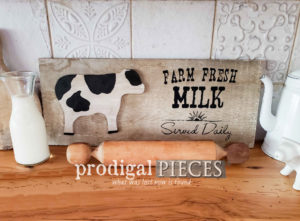 """Reclaimed Barn Wood Sign with """"Farm Fresh Milk Served Daily"""" Typography by Prodigal Pieces 