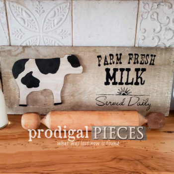 "Reclaimed Barn Wood Sign with ""Farm Fresh Milk Served Daily"" Typography by Prodigal Pieces 