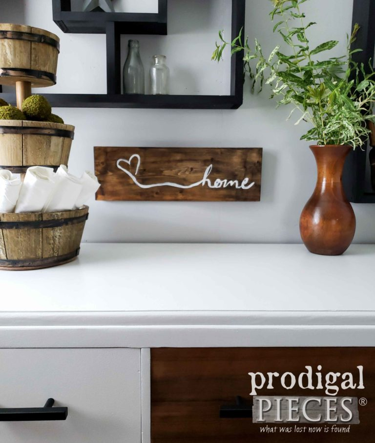 """Handmade """"Home"""" Sign for Modern Farmhouse Style Decor   Available at Prodigal pieces   shop.prodigalpieces.com"""