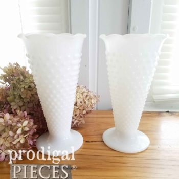 Vintage Hobnail Milk Glass Vase by Anchor Hocking | Cottage and Farmhouse Decor available at shop.prodigalpieces.com