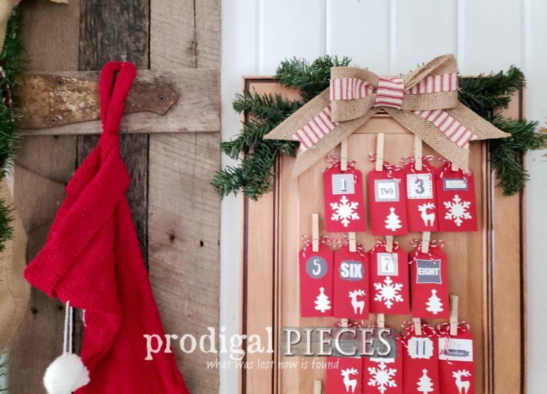 Handmade Christmas Advent Calendar with Daily Blessings Tags | Holiday Home Decor Available at Prodigal Pieces | shop.prodigalpieces.com