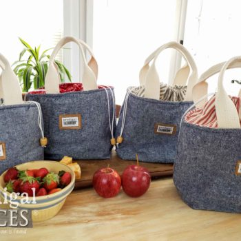 Handmade Denim Linen Farmhouse Style Insulated Lunch Bag Totes | shop.prodigalpieces.com