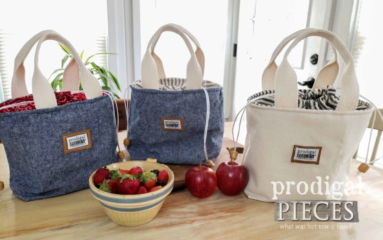 Denim Linen and Twill Lunch Bags by Prodigal Pieces | shop.prodigalpieces.com