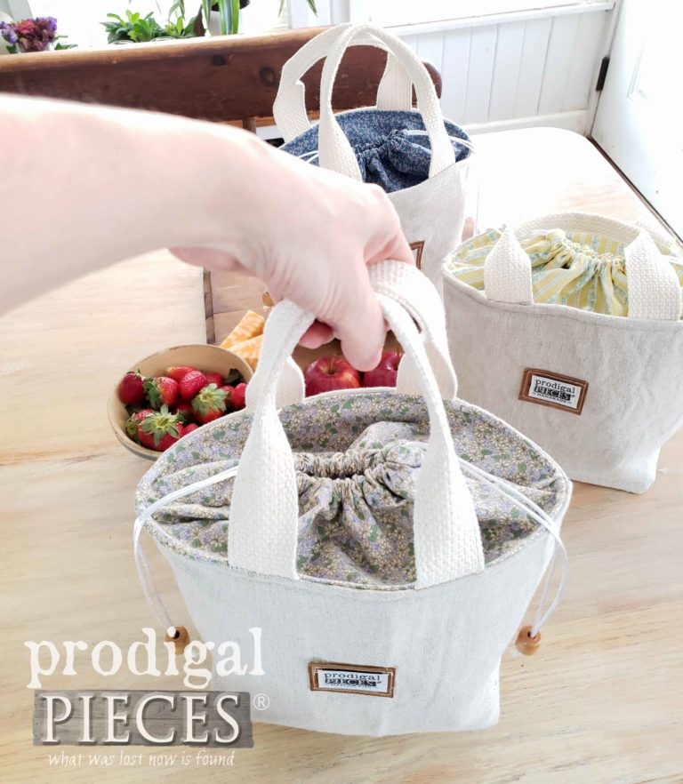 Adorable Linen Insulated Lunch Bag by Larissa of Prodigal Pieces | shop.prodigalpieces.com