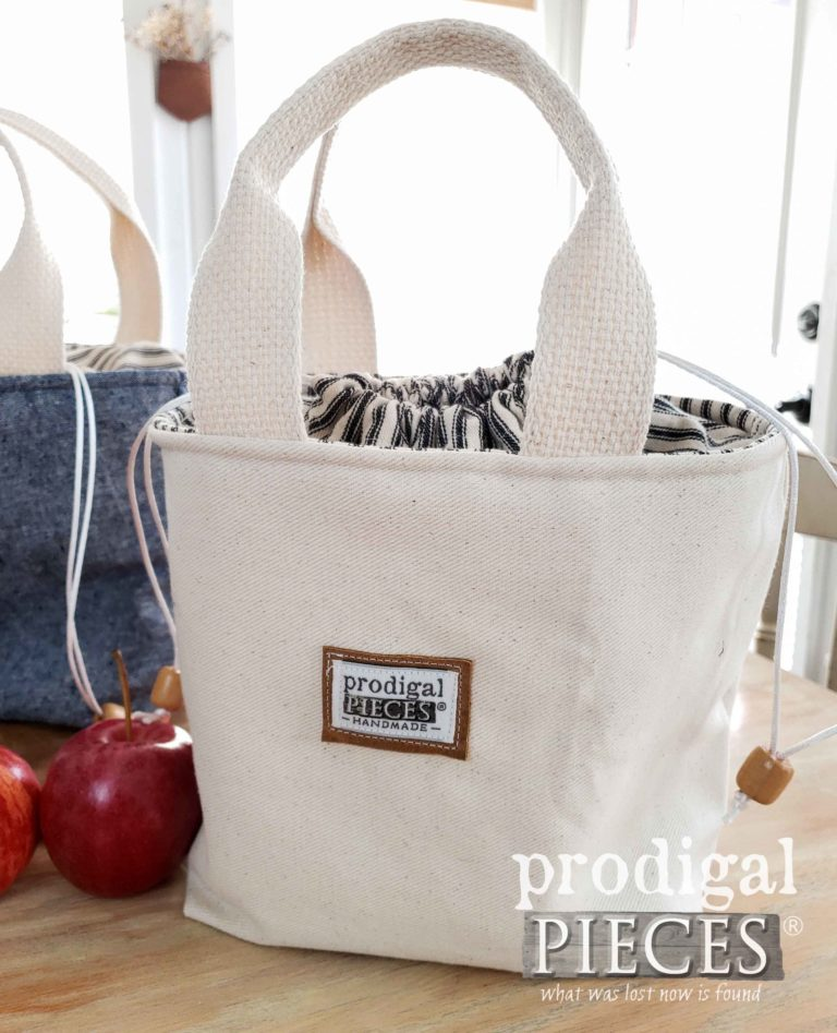 Farmhouse Style Insulated Lunch Bag Tote with Black Ticking | Available at shop.prodigalpieces.com