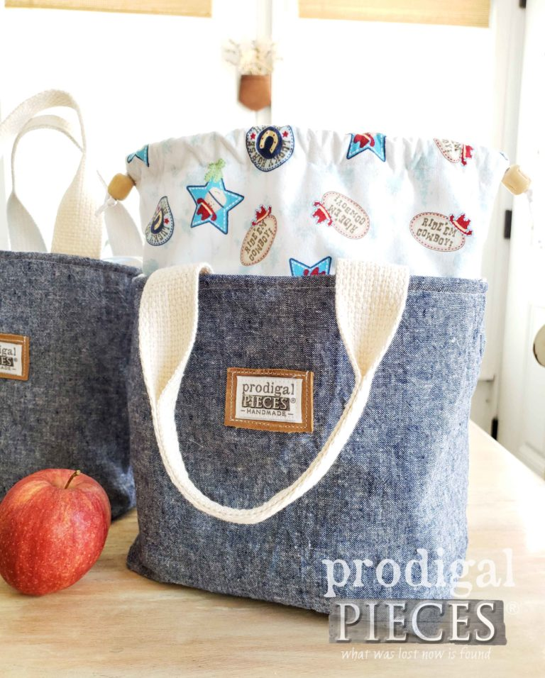 Cowboy Print with Denim Linen Insulated Lunch Bag Tote by Larissa of Prodigal Pieces | shop.prodigalpieces.com
