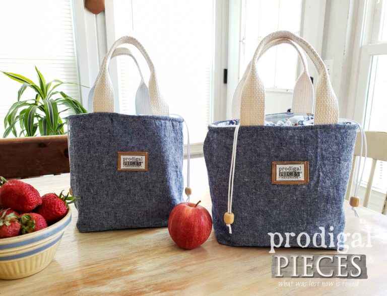 Denim Linen Owl and Cowboy Lunch Bag Tote by Larissa of Prodigal Pieces | shop.prodigalpieces.com