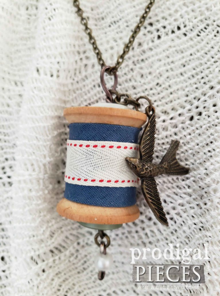 Brass Bird Charm on Handmade Vintage Wooden Spool Necklace by Prodigal Pieces | shop.prodiaglpieces.com