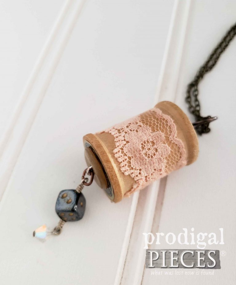 Dice Charm on Vintage Wooden Spool Necklace | shop.prodigalpieces.com