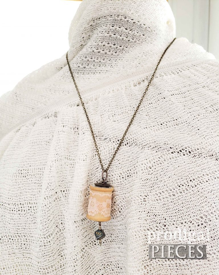 Vintage Style Dice Charm on Wooden Spool Necklace | shop.prodigalpieces.com
