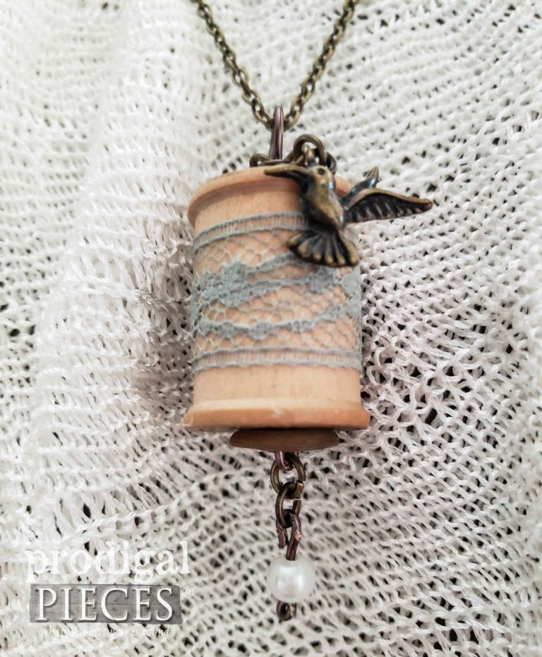 Brass Hummingbird Charm on Wooden Spool Necklace | shop.prodigalpieces.com