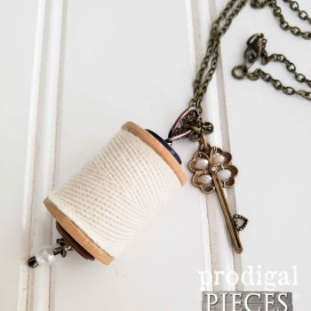 Vintage Wooden Spool Necklace with Pearlescent Key Charm | Available at Prodigal Pieces | shop.prodigalpieces.com #prodigalpieces #handmade #jewelry #fashion #style #women #gift