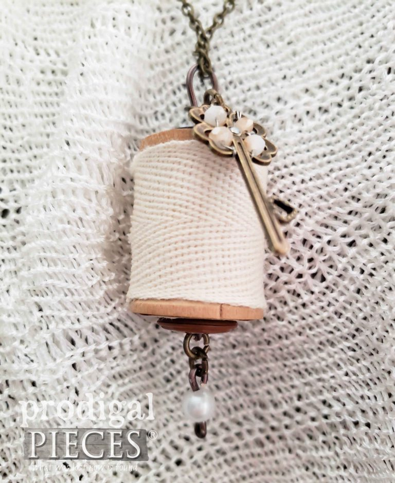 Closeup of Pearlescent Key Wooden Spool Necklace | shop.prodigalpieces.com