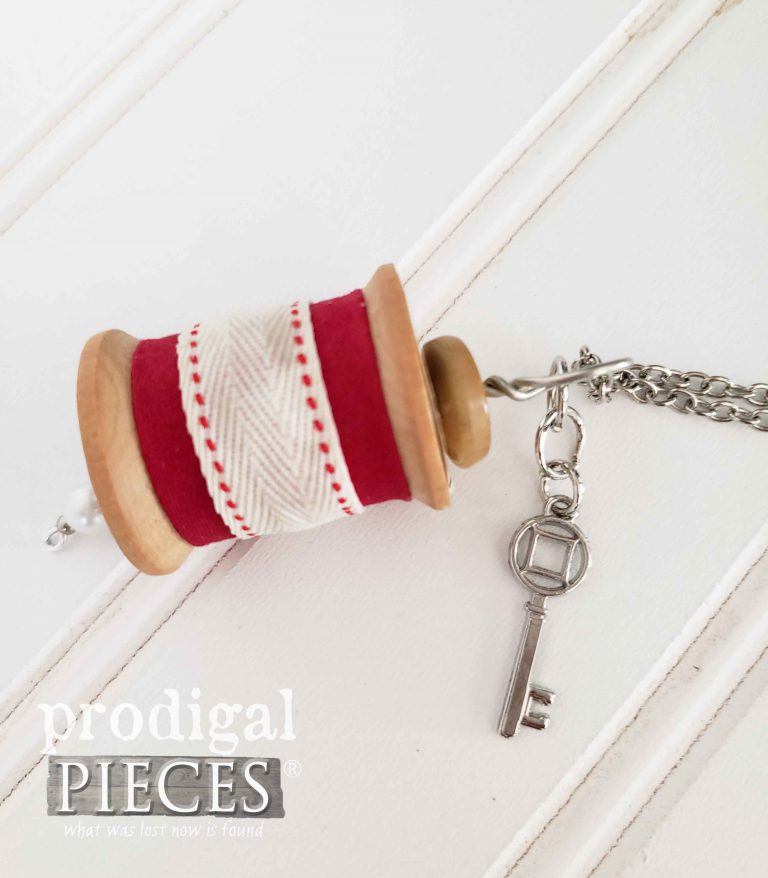 Vintage Wooden Spool Necklace with Red Ribbon and Key Charm | shop.prodigalpieces.com
