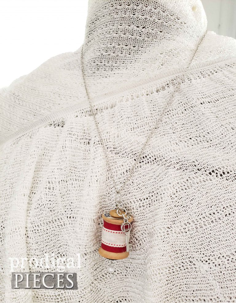Red Spool with Silver Key Charm Spool Necklace | shop.prodigalpieces.com