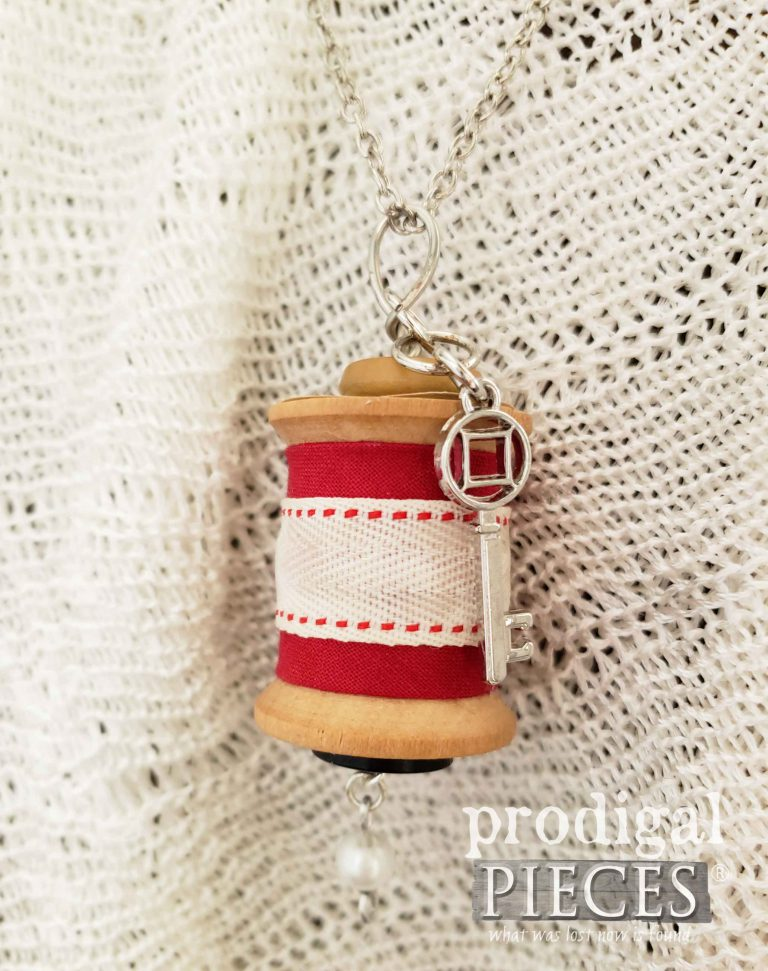 Red Ribbon with Silver Key Charm on Wooden Spool Necklace | shop.prodigalpieces.com