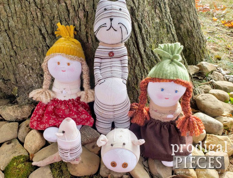 Upcycled Sock Doll Collection Set by Prodigal Pieces | shop.prodigalpieces.com #prodigalpieces