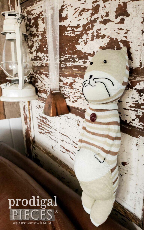 Tan Striped Sock Cat Handmade by Larissa of Prodigal Pieces | shop.prodigalpieces.com #prodigalpieces