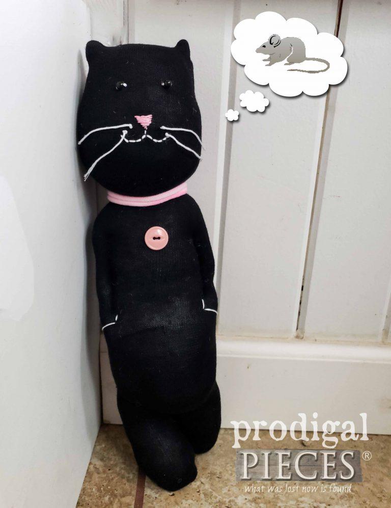 Black Sock Cat Doll Handmade by Larissa of Prodigal Pieces | shop.prodigalpieces.com #prodigalpieces #toys #handmade #shopping #doll