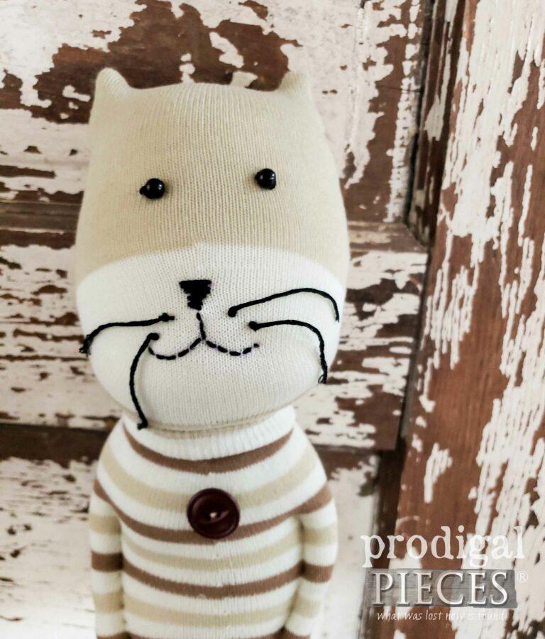 Tan Cat Sock Face | shop.prodigalpieces.com #prodigalpieces
