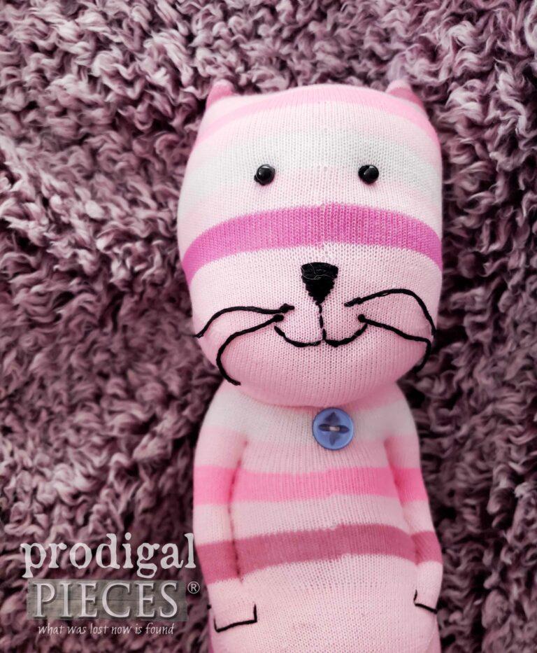 Cute Pink Sock Cat Face | shop.prodigalpieces.com