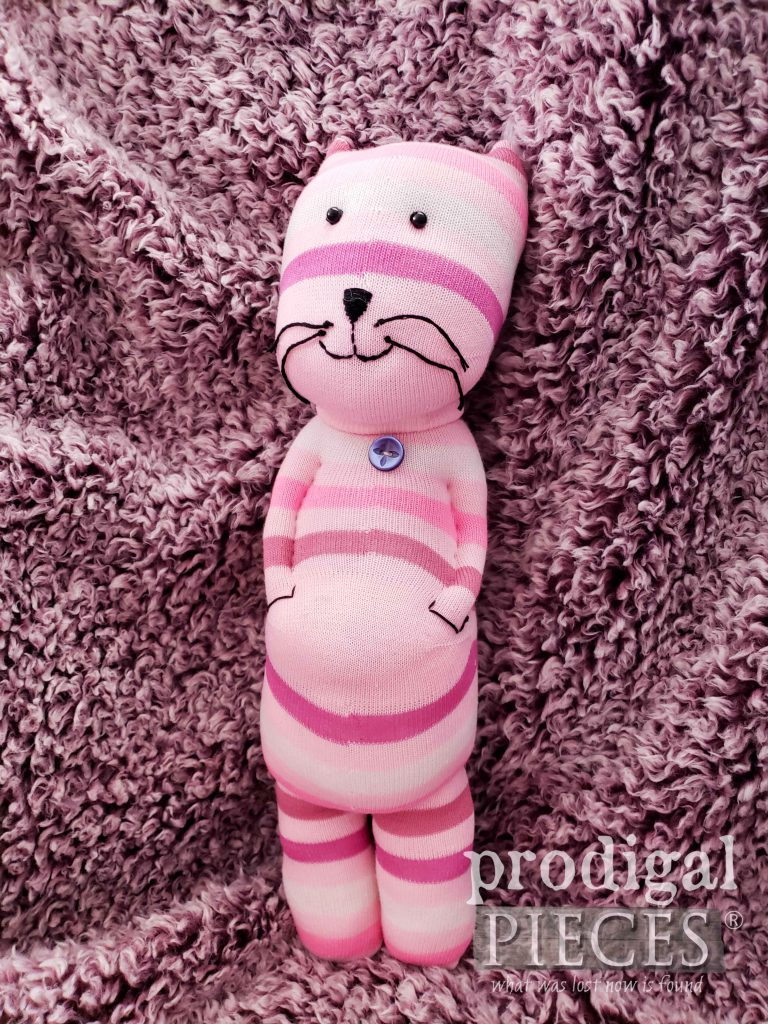 Adorably Pink Sock Cat ~ Handmade by Larissa of Prodigal Pieces | Choose your color cat at shop.prodigalpieces.com #prodigalpieces #handmade #shopping #toy #kids #giftidea