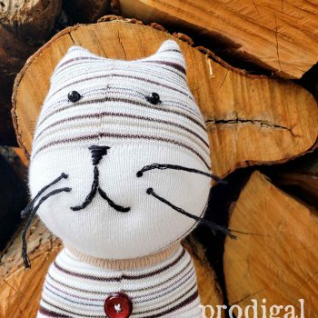 Handmade Sock Doll Cat by Larissa of Prodigal Pieces | prodigalpieces.com #prodigalpieces #shopping #handmade #toy #animal #kids #gift