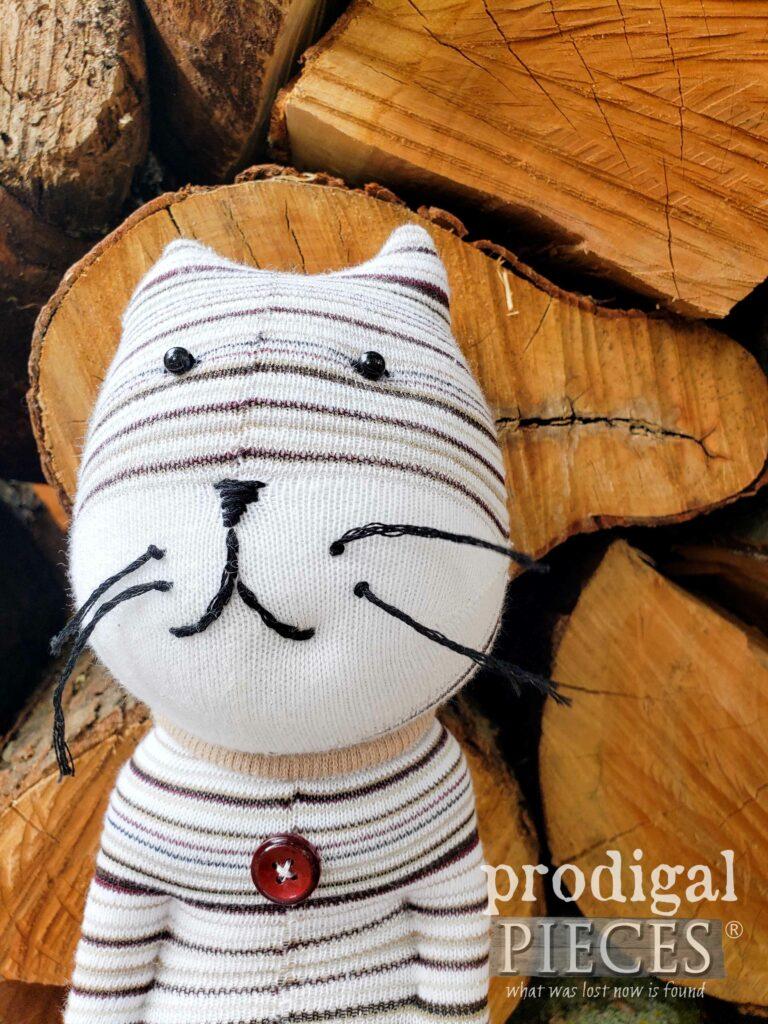 Handmade Sock Doll Cat by Larissa of Prodigal Pieces | prodigalpieces.com #prodigalpieces #shopping #handmade #toy #animal #kids #gift