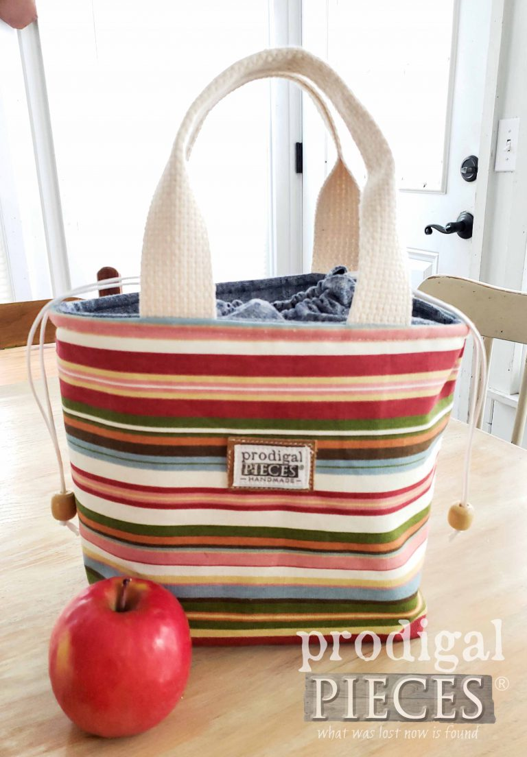 Multi-Stripe with Denim Linen Insulated Lunch Bag | Many style available at Prodigal Pieces | shop.prodigalpieces.com #prodigalpieces #handmade #shopping #lunch #style #fashion #bag