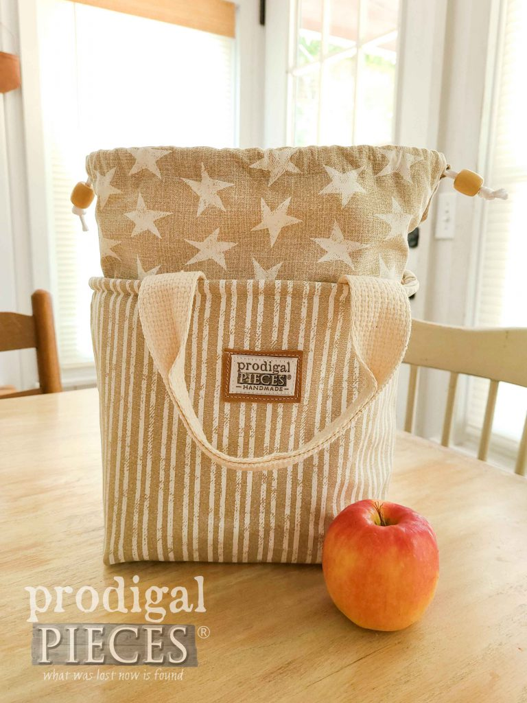 Beige Stripe with Beige Star Insulated Lunch Bag by Prodigal Pieces | prodigalpieces.com