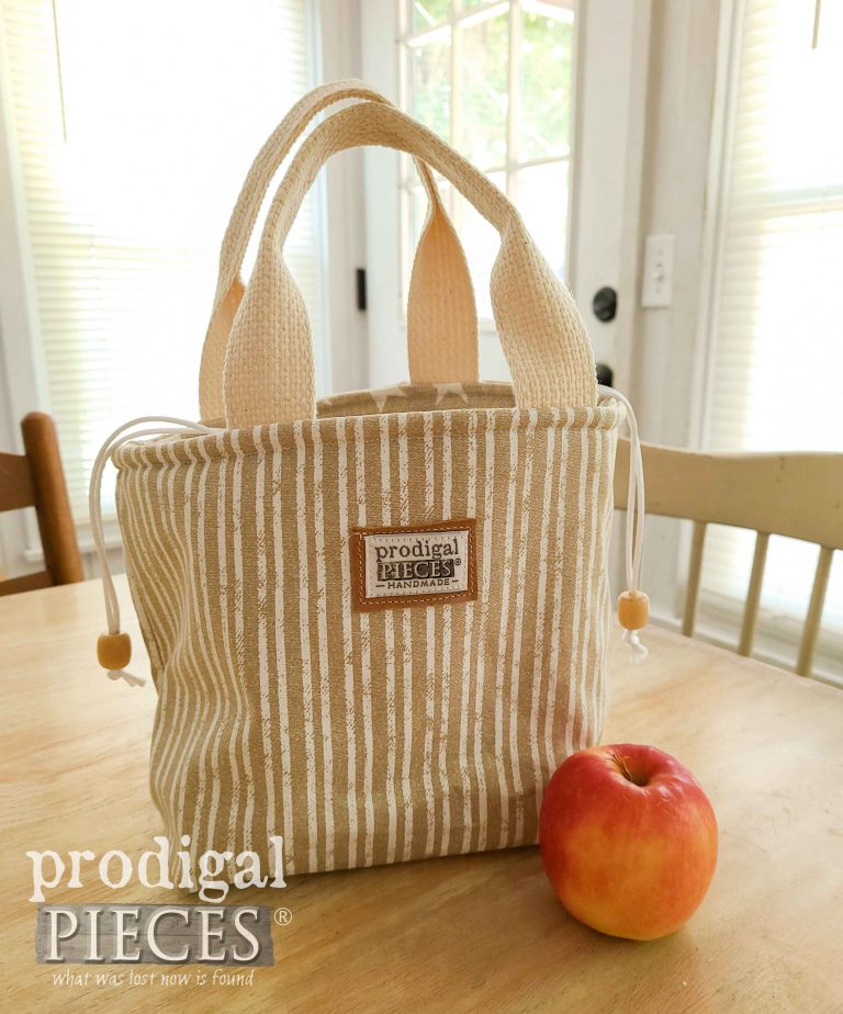 Beige Stripe Insulated Lunch Bag by Prodigal Pieces | shop.prodigalpieces.com