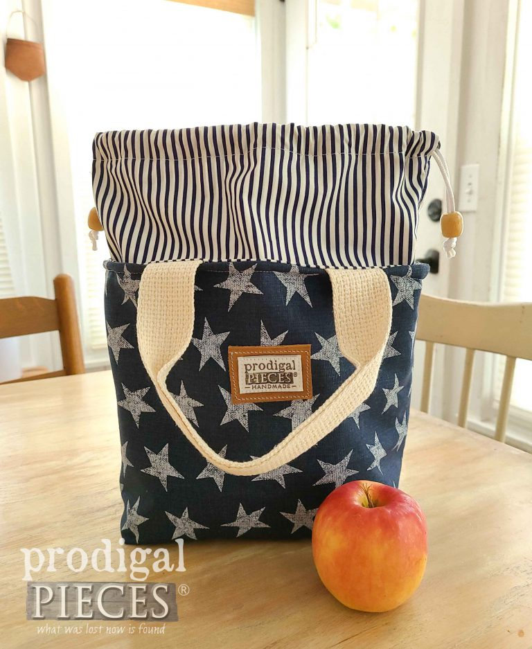 Distressed Blue Star with Stripe Insulated Lunch bag by Prodigal Pieces | shop.prodigalpieces.com