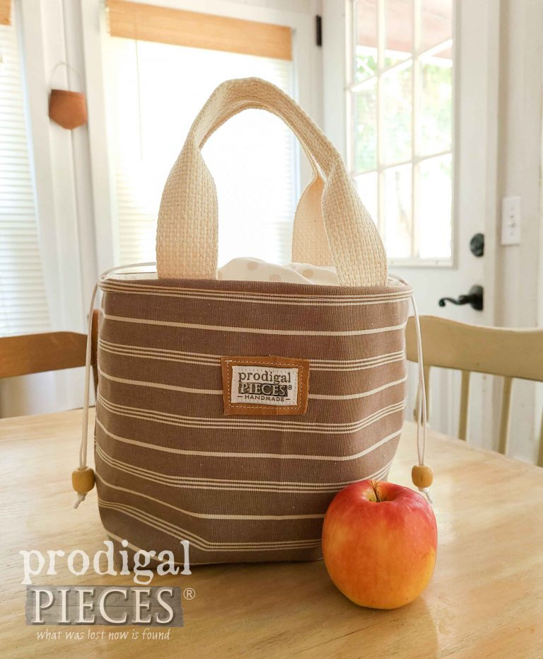 Brown Stripe Insulated Lunch Bag by Prodigal Pieces | shop.prodigalpieces.com