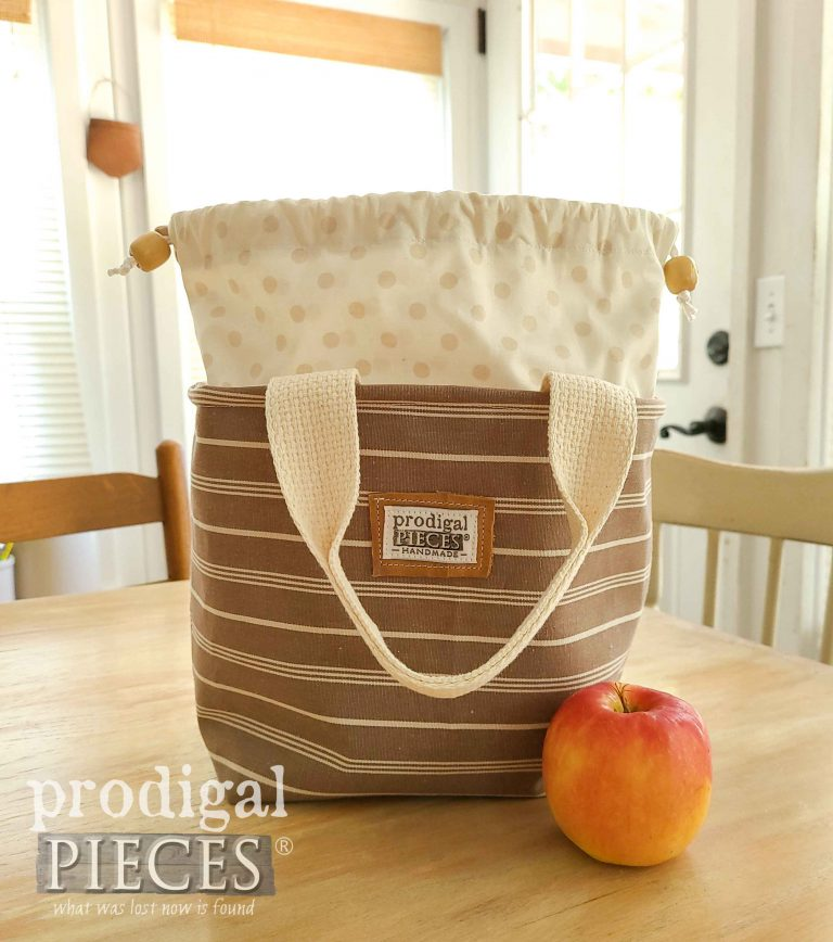 Brown Stripe with Polka Dot Insulated Lunch Bag | shop.prodigalpieces.com