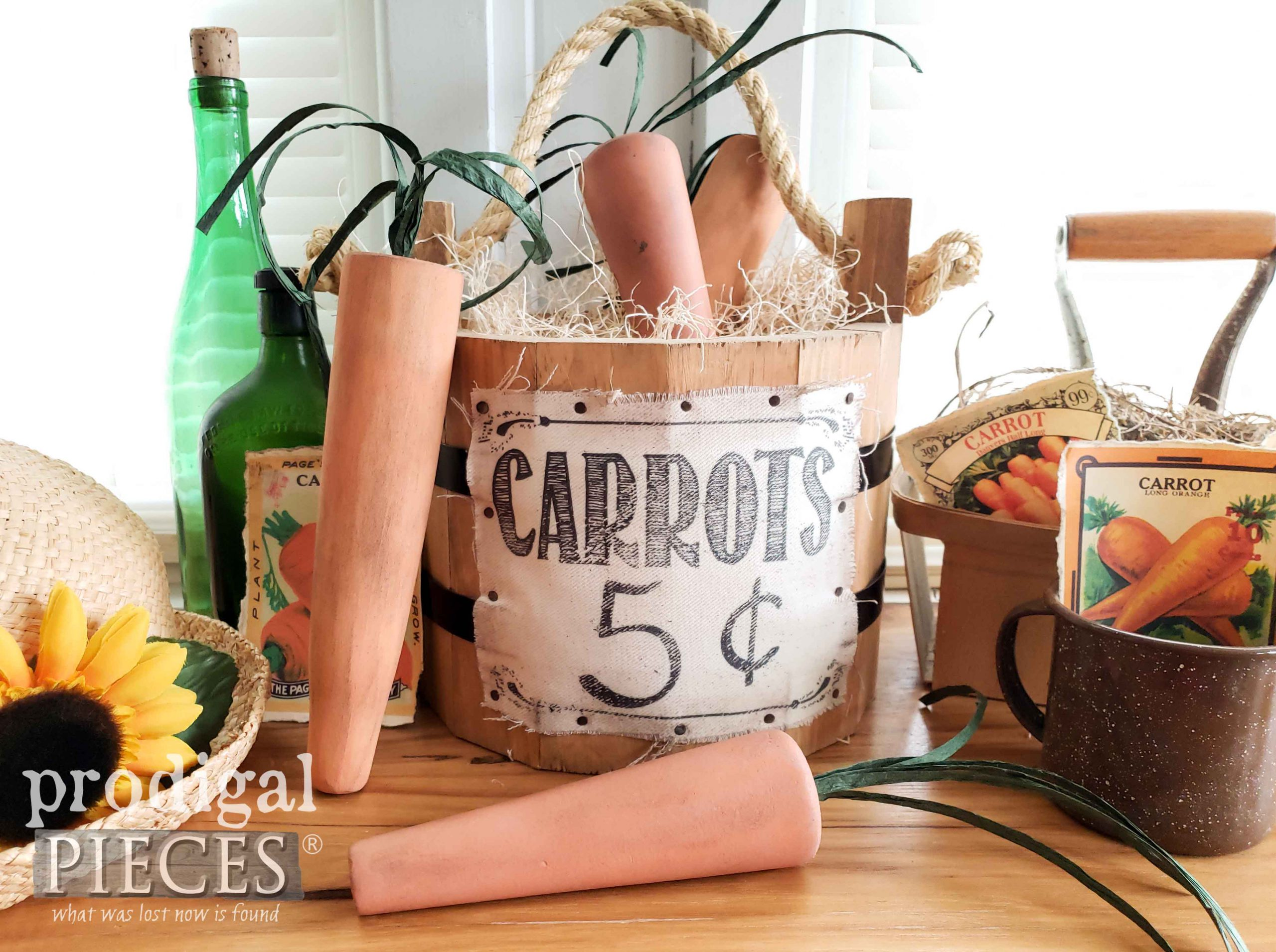 Handmade Bucket with Carrots for Farmhouse Cottage Style Spring Decor available at Prodigal Pieces | shop.prodigalpieces.com #prodigalpieces #spring #shopping #handmade #home #homedecor