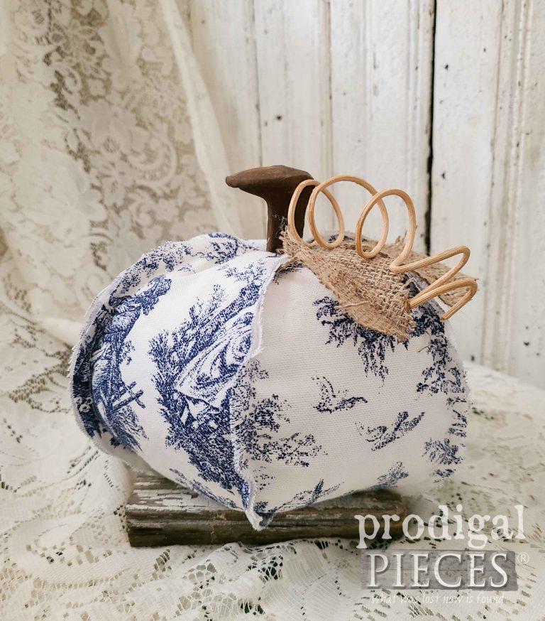 Blue Toile Reclaimed Pumpkin | shop.prodigalpieces.com #prodigalpieces