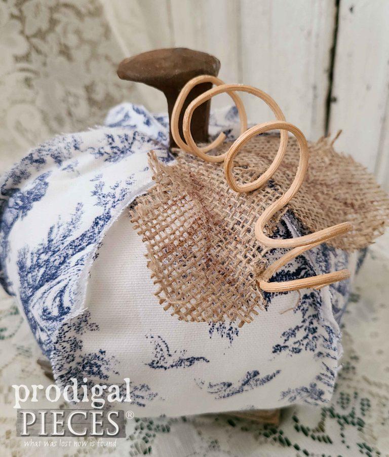 Burlap & Toile Pumpkin | shop.prodigalpieces.com