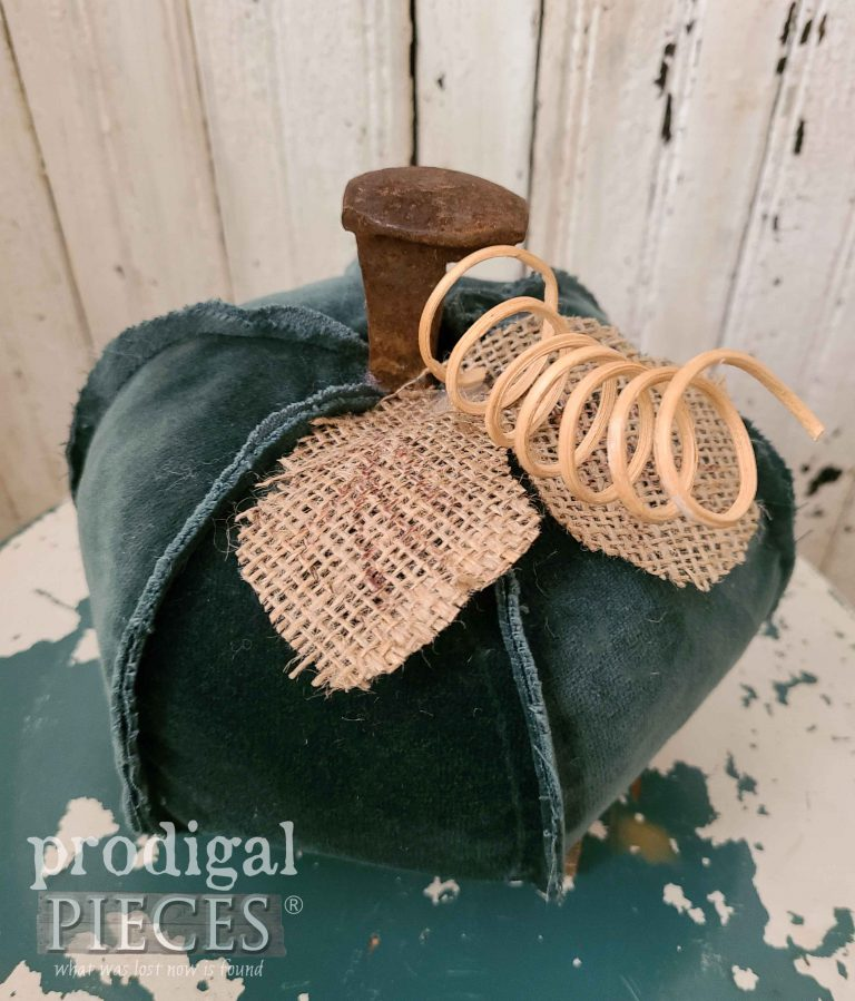 Reclaimed Green Velour Pumpkin | shop.prodigalpieces.com