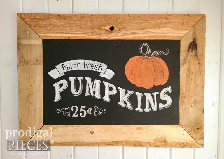 Harvest Pumpkin Sign Chalkboard Style by Prodigal Pieces | prodigalpieces.com #prodigalpieces