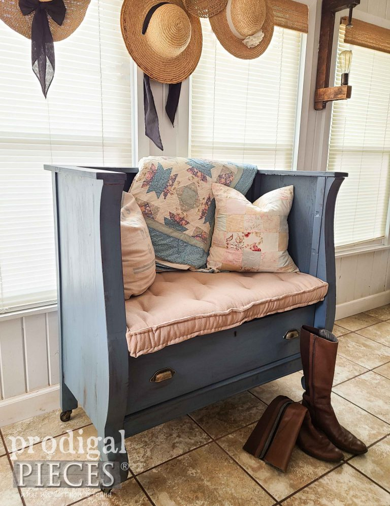 Cottage Style Bench Upcycled by Larissa of Prodigal Pieces | shop.prodigalpieces.com