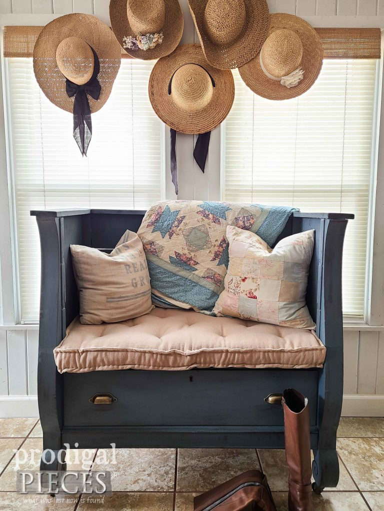 Upholstered Antique Empire Chest Bench for Farmhouse Home Decor by Larissa of Prodigal Pieces | available at shop.prodigalpieces.com #prodigalpieces #shopping #furniture #home #homedecor
