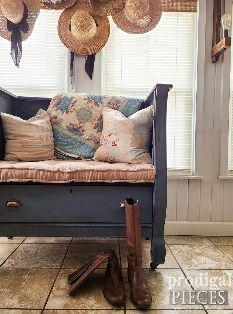 Farmhouse Style Bench with Tufted French Mattress by Larissa of Prodigal Pieces | shop.prodigalpieces.com #prodigalpieces